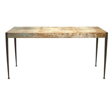 Astoria Rustic Industrial Unfinished Distressed Console Table Mango Wood Iron Leg