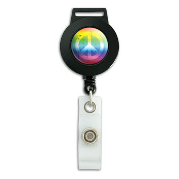 Artsy Peace Sign Symbol Rainbow Retractable Badge Card ID Holder
