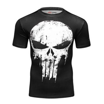 PEAPFS2 punisher t shirts Fitness Compression Men Short Sleeves T shirt Fashion O-neck Skulls T-shirt Mens Tee Man Top Brand Clothing