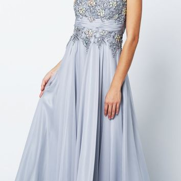 Jewel Neckline Studded Bodice A Line Silver Red Carpet Gown