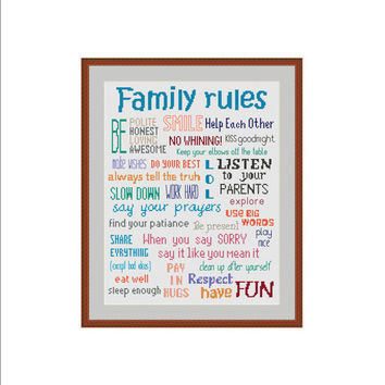 Family cross stitch, Family rules cross stitch, House rules cross stitch, Family rules, House rules, Our family, Cross stitch pattern, PDF