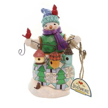 Jim Shore FESTIVE FRIENDS FLOCK TOGETHER Polyresin Snowman Birds 4059132