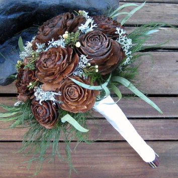 Woodland Wedding Bouquet  - Dried Flower Bouquet - Cedar Rose & Lichen - Bridal, Maid of Honor, or Bridesmaids