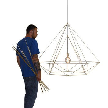 XXL Himmeli Light Diamond Cage pendant Geometric Gold matte Chandelier  Industrial Brass Gold Original Himmeli Art Panselinos