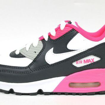 ONETOW Nike Toddler's Air Max 90 LTR PS Gray/Pink Sneakers 833377 003