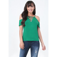 LACE UP COLD SHOULDER TEE