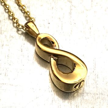 Cremation Necklace, Gold Plate Infinity Urn, Urn Locket, Ashes Holder Necklace, Cremation Locket, Memory Locket, Cremation Jewelry