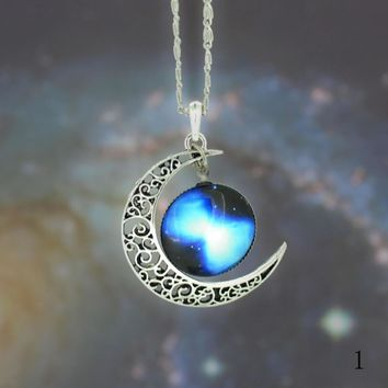 stars the moon time diamond necklace-1