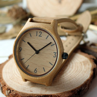 Womens Bamboo Watch - Leather Strap