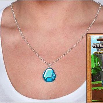Minecraft Official Authentic Diamond Pendant Necklace Chain Officially Licensed