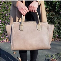 Leather Tote Satchel Duffel Purse Bag Women Handbag Accented Handle