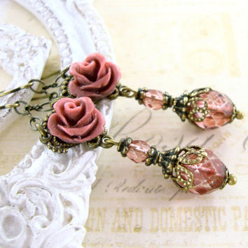 Victorian Rose - Dusty Pink Antique Brass Resin Rose Earrings - Bridesmaids Jewelry - Dark Rose Victorian Jewelry Shabby Chic Wedding