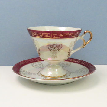 Vintage red and gold Greek key pedestal lusterware lustreware teacup and saucer