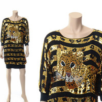 Vintage 70s 80s Silk Leopard Print Sequin Dress 1970s 1980s Beaded Cheetah Tiger Batwing Trophy Black Jumper New Wave Punk Tunic Dress
