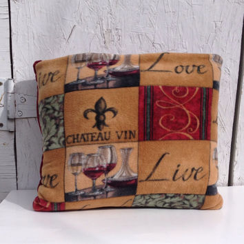 Fleece Quillow, wine theme, live love laugh quilt, magic pillow, lap quilt, fleece throw blanket,  fleece blanket