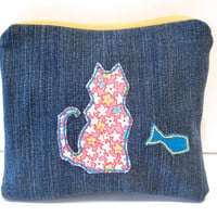 Zippered Cat Denim Coin Purse - Upcycled