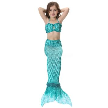 Children Girl Adult Women Mermaid Tail Swimsuit with Monopalme Swimming Tail Swimwear Cosplay Costume