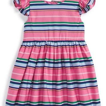 Infant Girl's Ralph Lauren Stripe Sleeveless Dress
