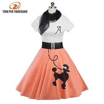 2017 Women Clothing Pin UP Vestidos Summer Printing Puppy Retro Casual Party Robe Rockabilly 50s 60s Vintage Dresses+Scarves