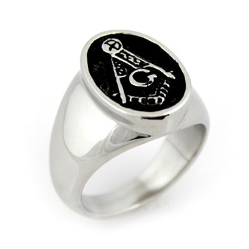 Masonic Silver Mens Ring Black Antique Enameled 9-14