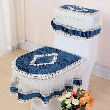 Lace Three-piece Set U-shaped Mats Toilet Seat Cover