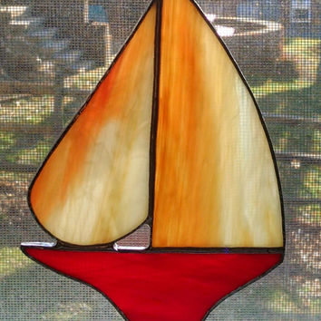Stained Glass Sailboat - Nautical Decor - Sailboat Suncatcher - Boat Art - Coastal Art - Beach Decor - Red - Orange - Sunset