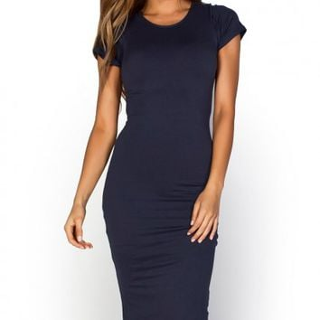 Elise Navy Blue Short Sleeve Bodycon T Shirt Midi Dress