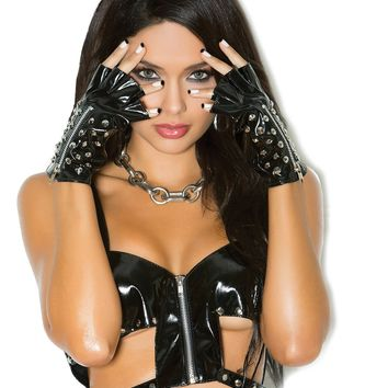 Stud and Zipper Vinyl Gloves