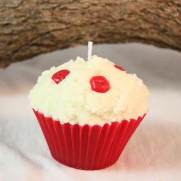 Cupcake Candles, Cherry Cupcake Candle, Fake Food