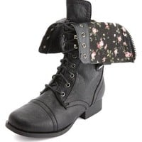 FLORAL PRINT LACE-UP COMBAT BOOT