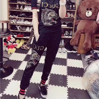 """Gucci"" Women Casual Fashion Hot Fix Rhinestone Letter Wolf Head Short Sleeve Trousers Set Two-Piece Sportswear"