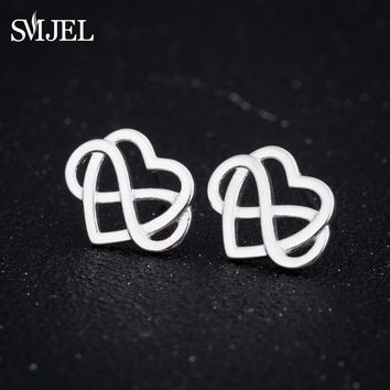 SMJEL New Irish Knot Jewelry Tiny Forever Inifinite Knot Cross Love Heart Charm Earrings Women Brincos Gifts Best Friend ED249