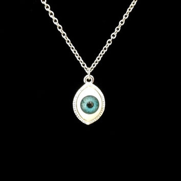Silver Evil deflecting blue eye ball charm pendant necklace