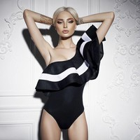 GZHOUSE Elegant One Shoulder Ruffle Bodysuit Women Summer Striped Beach Women Jumpsuit Rompers Sexy Bodycon Overalls Bodysuit