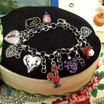 Portuguese Hearts Barcelos rooster charm bracelet folk Portugal jewelry