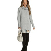 Gray Silent Night Ribbed Cowl Neck Sweater