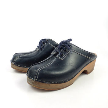 Scania Clogs Shoes Vintage 1970s Navy Blue Swedish Clogs Leather Size 39