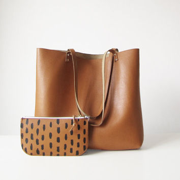 Leather Tote bag and Pouch Combo, Leather tote bag, Gift Set, Large tote bag, Casual Tote , Everyday bag, Toffee, Tan, Saffiano Leather,