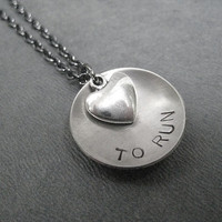 LOVE (Heart) TO RUN - Running Necklace on 18 inch gunmetal chain - Running Jewelry - Run Necklace - Love to Run