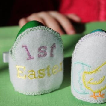 Easter egg holders Embroidery personalized set of 4  Egg holders  with name