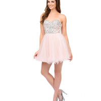 Blush Rhinestone & Sequin Glitter Chiffon Short Dress 2015 Homecoming Dresses