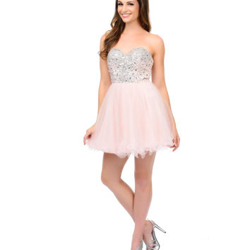 Blush Rhinestone & Sequin Glitter Chiffon Short Dress 2015 Prom Dresses