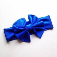 Royal Blue print big bow headwrap