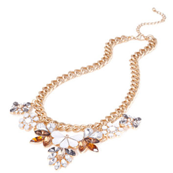 FOREVER 21 Floral Rhinestoned Necklace Gold/Light Brown One