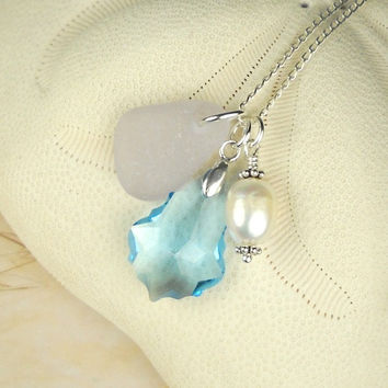 Lavender Sea Glass Necklace Wire Wrapped Freshwater Pearl And Crsytal