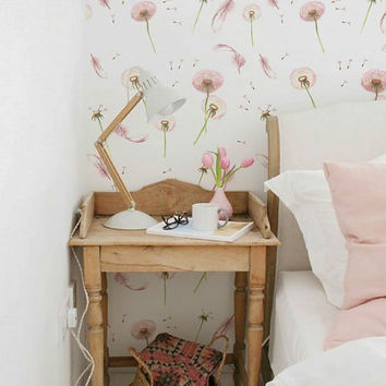 Dandelion and Feather Pattern Wallpaper - Removable Wallpaper - Dandelion Wallpaper - Wall Sticker - Wall Decal - Feather Self Adhesive