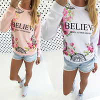 Paragraph Flower Printed Long-Sleeved Sweater Shirt in White or Pink