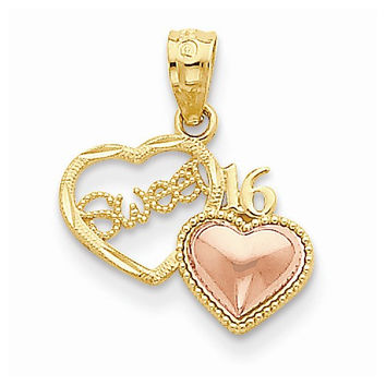 14k Two Tone Gold Sweet 16 Heart Pendant