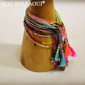 2017 Summer New Bohemian Fashion Retro Multicolor Beaded Weave Bracelet Fashion Jewelry For Women Knited Beach Tassels Bracelets