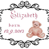 Baby Birth Record Lizzy - PDF Cross Stitch Pattern - INSTANT DOWNLOAD